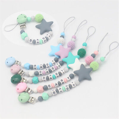 Silicone  Personalised Name Pacifier Chain Baby Teething Soother Dummy Clips