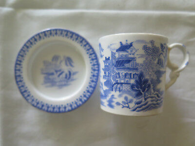 COPELAND WILLOW PATTERN FINE BONE CHINA TINY COFFEE CUP & SAUCER c1860