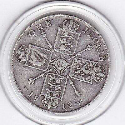 1912   King   George  V  Florin  (2/-)  Silver  (92.5%)  Coin