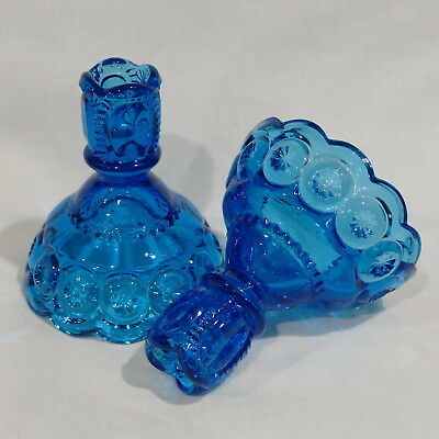 Pair of Vintage LE Smith Moon and Stars Blue Glass Candle Holders