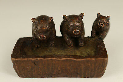 big Antique Rare chinese old red copper Hand solid Carved Love Pig Statue Gift.