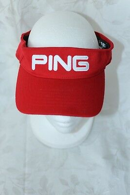 fec81a0bf14 PING Golf Sports Visor Red White Adjustable Closure Unisex Cap Hat FREE  SHIPPING
