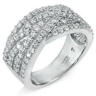 Womens 925 Sterling Silver Cubic Zirconia Clear Round 1.5mm Ring