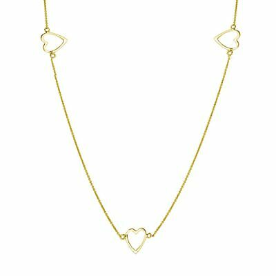 """Womens 925 Sterling Silver Gold Plated 5 Open Heart 32"""" Necklace"""