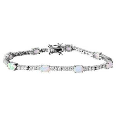 Womens Sterling Silver 925 Rhodium Plated Oval Opal and Round CZ Tennis Bracelet