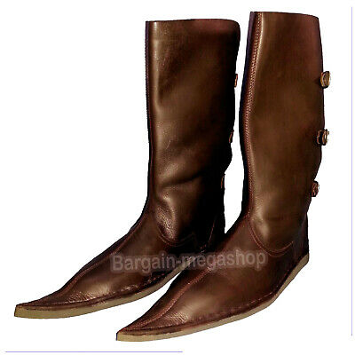 Medieval Renaissance Leather boots Re-enactment Boot Mens Riding Footwear Shoes