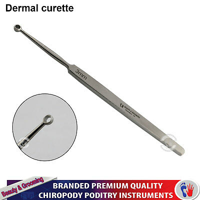 Dermatology Dermal Curette 3mm Skin Surgery lesions Removal Ear Wax Pick Removal
