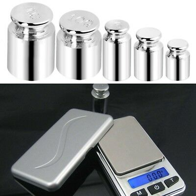 5pcs 1g 2g 5g 10g 20g Grams Precision Chrome Weights Scale Calibration Tool UK