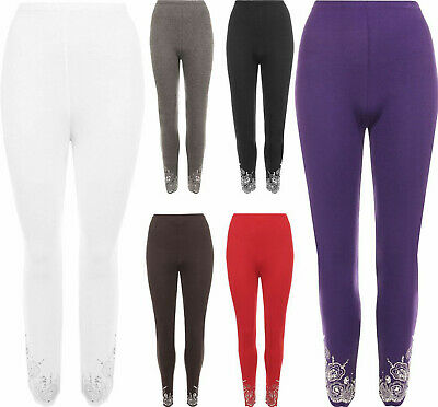 Womens Sequin Stretch Leggings Ladies Full Length Fancy Elasticated Waist Pant