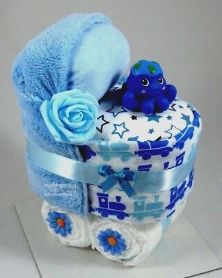 Baby Boy Nappy Cake Pram New Born Baby Shower Gift *** Can be Personalised