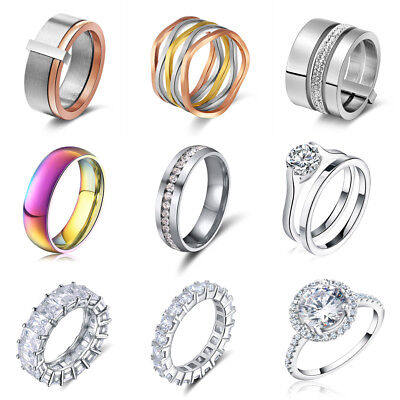 Men Women's Stainless Steel CZ Engagement Wedding Band Ring Set Pair Size 5-13