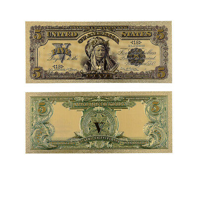 1899 Year 5 Dollar Colorful Gold Banknote 24k 999.9 Gold Plated Gift Money