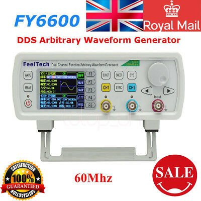 FeelTech FY6600 60MHz DDS Dual Channel Function Waveform Generator 20Vpp UK