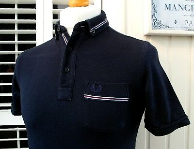 """Fred Perry Twisted Navy Marl Slim Fit Polo - S - 36"""" - Ska Mod Scooter Casuals"""