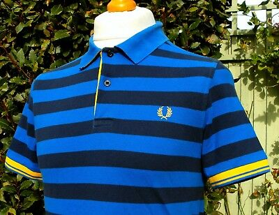 """Fred Perry Royal/Navy Cut Back Polo Shirt - S/M - 38"""" - Ska Mod Scooter Casuals"""