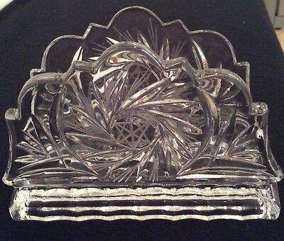 Vintage Crystal Clear Cut-Pressed Design Glass Napkin Holder solid/heavy EXC