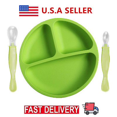 Colorful Baby Silicone Placemat Suction Plates One-Piece Feeding Dishes Bowl USA