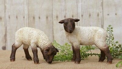 PRIMITIVE SHEEP Country Farmhouse Set of 2 Rustic Farm Resin Vintage Look