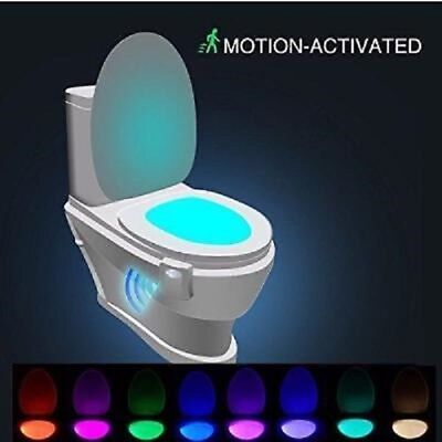 LED Motion Sensor Activated Bathroom Illumibowl Seat Toilet Night Light 8 Color