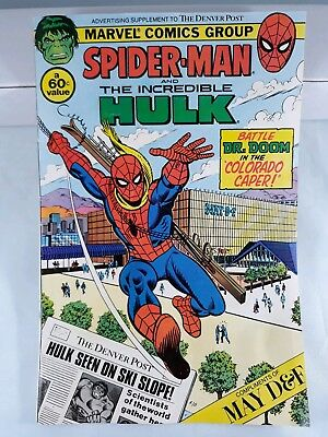 Vintage Marvel Spiderman Hulk Comic Book Insert to The Denver Post May D&F 1982