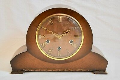 VINTAGE 1930s SMITHS WESTMINSTER CHIME OAK CASED MANTEL CLOCK