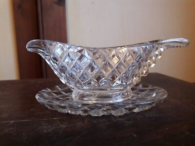 Minature crystal cut glass sauce boat and seperate base