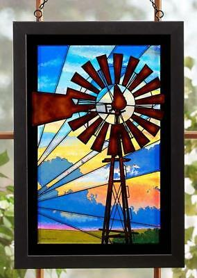 Windmill in the Sunrise Stained Glass Art Hanging Panel