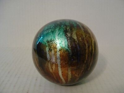 Decorative Art Glass Ball With Iridescent Aqua Gold And Brown Colors