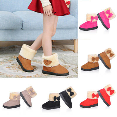 Fashion Girls Kids Winter Warm Ankle Boots Children Casual Bow Shoes Snow Boots