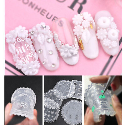 3D Nail Art Silicone Mold Stamping Stamper Carving DIY Acrylic UV Gel Tips Tools