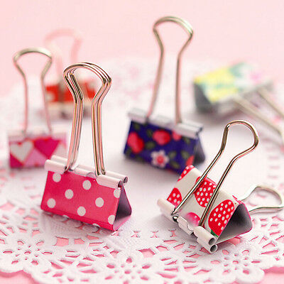 6X Flower Printed Metal Binder Clips Notes Paper Clip Office Tool 19 X 37mm Ga