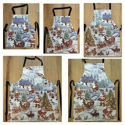 White Christmas Wipe Clean PVC Apron - Adult & Child Sizes Available