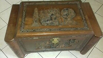 """Vintage Chinese Oriental Carved Camphor Wooden Chest. 36""""wide x 20"""" tall x 19"""""""