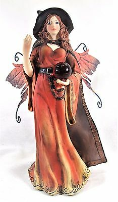 Witch Fairy in Rust-Red Dress with Crystal Ball mythical Fantasy Figurine