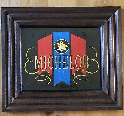 Michelob Beer Carnival Mirror Vintage 1970s 1980s Bar Pub Sign
