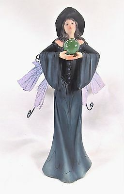Witch Fairy in Dark Teal Dress And Crystal Ball fantasy mythical figurine