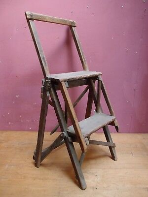 """ANTIQUE 1930s SMALL PINE KITCHEN STEP-UP LADDER """"THE HATHERLEY PATENT LATTISTEP"""""""