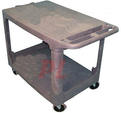 Plastic 2 Shelves Trays FLAT SERVICE CART 500lbs Capacity *FREE SHIPPING*