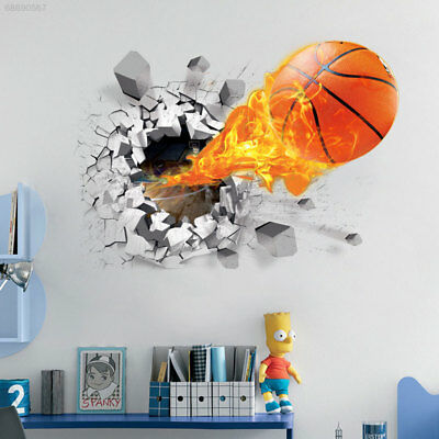 4F66 3D Basketball Removable Wall Stickers Home Living Room Decor Room Bedroom D