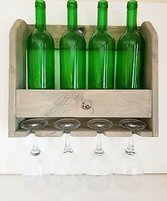 Grey Wine bottle and wine glass holder wall mounted reclaimed timber handmade