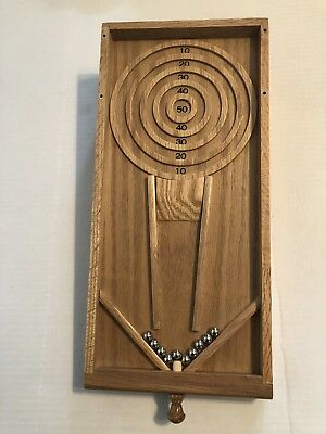 Mini Wood Skee Ball Game Made By Claybrooke With 10 Steel Balls & Net