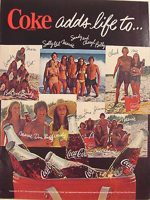 1977 Coke Ads Life ~ Young People at the Beach ~ Vinyl Cooler Bag Print Ad