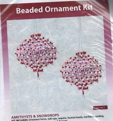 Amethysts & Snowdrops Set of 2 Bead & Sequin Ornament KIT Purple Holiday Craft