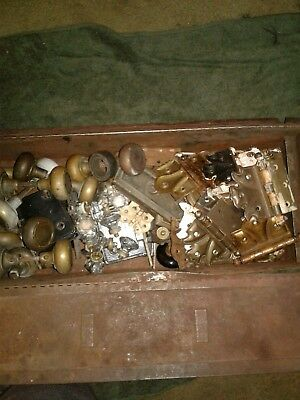 Vintage Antique Old House Hardware Lot Knobs Locks Plates Architectural Salvage