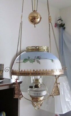Victorian Antique Hanging Light Electrified Oil Lamp Pendant Prisms Beautiful!