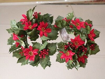 """Home Interiors  2 Piece Set '' Red Poinsettia ''  Christmas Candle Accents """"NWT"""