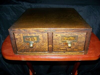 Antique Tiger Oak Globe Wernicke Double Drawer Card File Cabinet- Ex.Condition