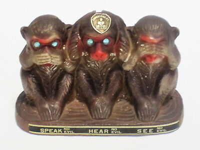 Wise Monkey Bank Figurine Speak Hear See No Evil Chinatown New York Souvenir