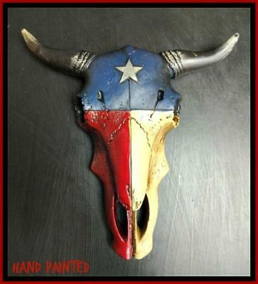 Western Texas Flag Cow Bull Longhorn Skull Rustic Hanging Wall Sculpture Decor