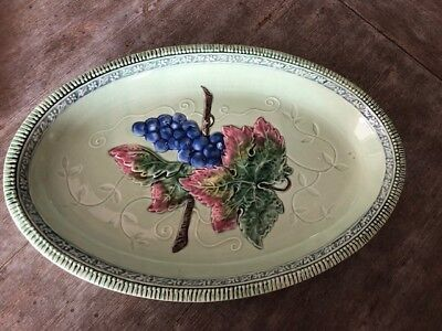 Antique Majolica Bowl Dish Plate Leaves & Grapes On Twig